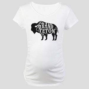 Grand Teton Buffalo Maternity T-Shirt