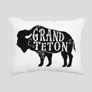 Grand Teton Buffalo Rectangular Canvas Pillow