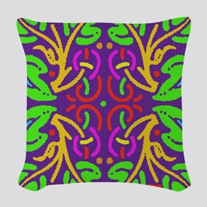 Colorful Abstract Leaves Woven Throw Pillow