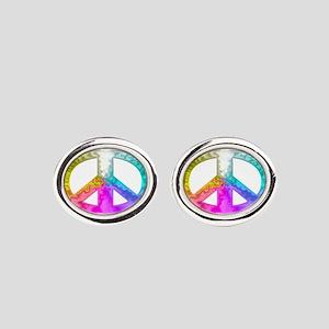 paece-symbol-glass-rainbow Oval Cufflinks
