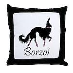 Ballet Borzoi Beauty In Black Throw Pillow