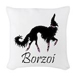 Ballet Borzoi Beauty In Black Woven Throw Pillow