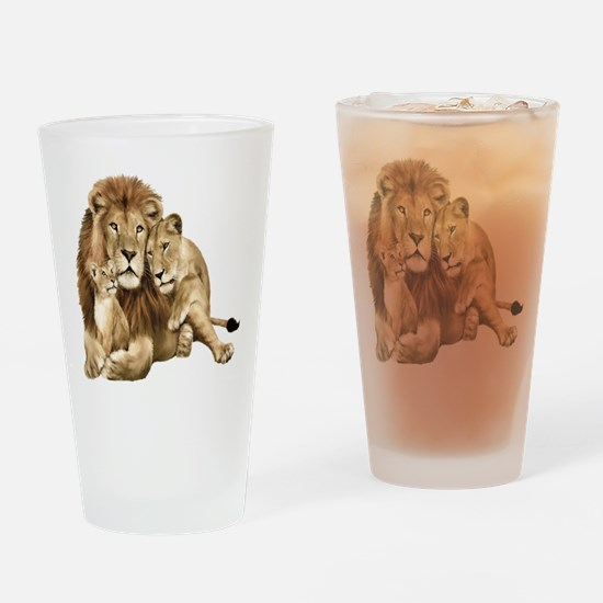 Lion And Cubs Drinking Glass