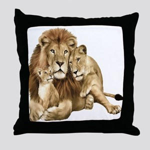 Lion And Cubs Throw Pillow