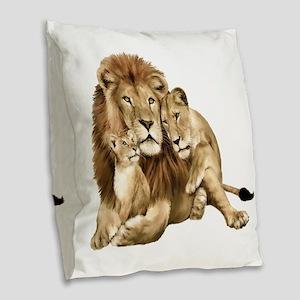 Lion And Cubs Burlap Throw Pillow