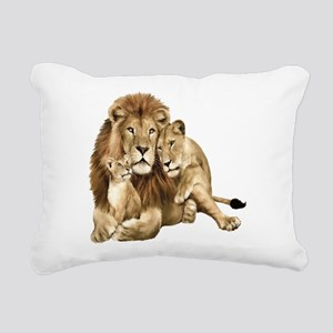 Lion And Cubs Rectangular Canvas Pillow