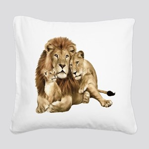 Lion And Cubs Square Canvas Pillow