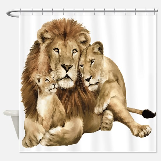 Lion And Cubs Shower Curtain