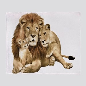 Lion And Cubs Throw Blanket