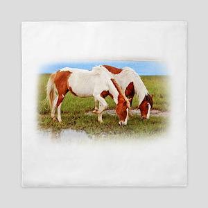 Pair Of Painted Horses Queen Duvet