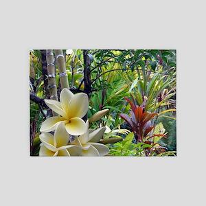 Tropics With Plumeria 5'x7'Area Rug