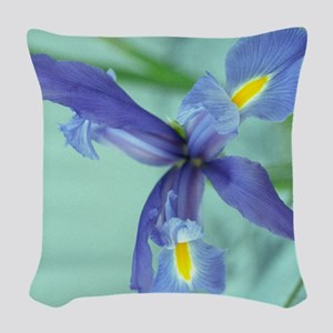 Awaken Purple Iris Flower Photo Woven Throw Pillow