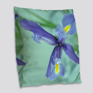 Awaken Purple Iris Flower Burlap Throw Pillow