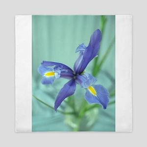 Awaken Purple Iris Flower Photo Queen Duvet