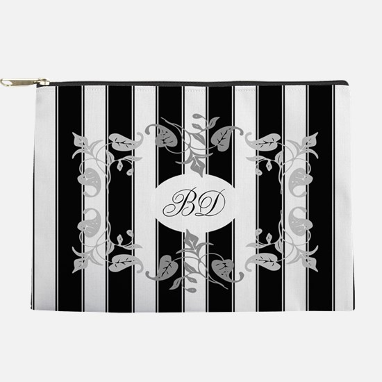 Black And White Stripes With Gray Makeup Pouch