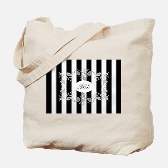 Black And White Stripes With Gray Leaves Tote Bag