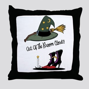 Out of the Broom Closet Throw Pillow