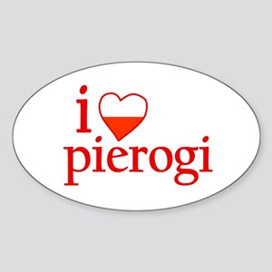 I Love Pierogi Oval Sticker