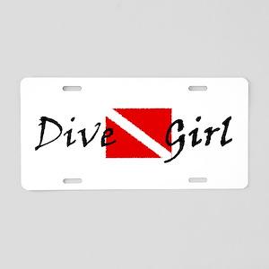 dive girl logo 1 black Aluminum License Plate