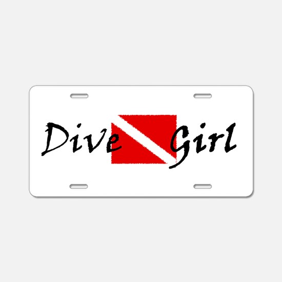 dive girl logo 1 black.psd Aluminum License Plate