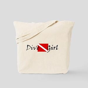 dive girl logo 1 black Tote Bag
