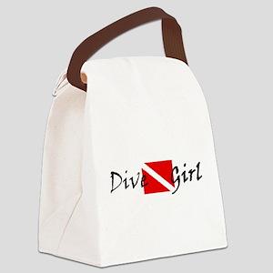 dive girl logo 1 black Canvas Lunch Bag