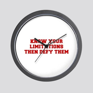 KNOW-YOUR-LIMITATIONS-FRESH-RED Wall Clock