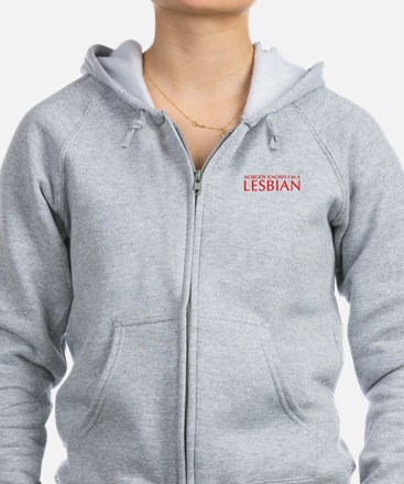NOBODY-KNOWS-IM-A-LESBIAN-OPT-RED Zip Hoodie