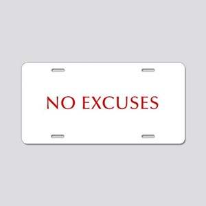 NO-EXCUSES-BOD-RED Aluminum License Plate