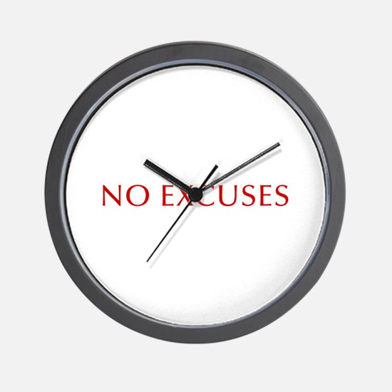 NO-EXCUSES-BOD-RED Wall Clock