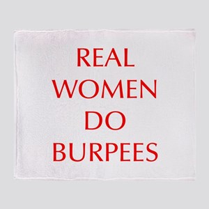 REAL-WOMEN-DO-BURPEES-OPT-RED Throw Blanket