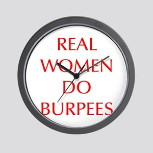 REAL-WOMEN-DO-BURPEES-OPT-RED Wall Clock