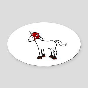 Roller Derby Unicorn Oval Car Magnet