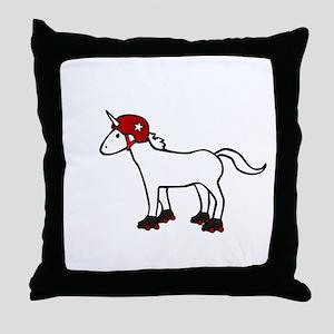 Roller Derby Unicorn Throw Pillow