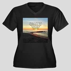 ISAIAH 41:10 Women's Plus Size V-Neck Dark T-Shirt