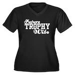 Future Trophy Wife Women's Plus Size V-Neck Dark T