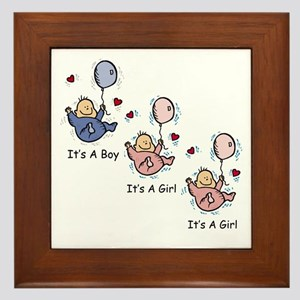 It's a Boy Girl Girl Triplets Framed Tile