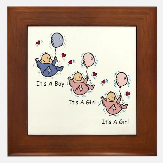 It's a Boy Girl Girl Triplets Framed Tile