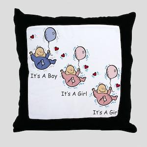 It's a Boy Girl Girl Triplets Throw Pillow