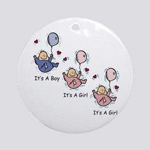 It's a Boy Girl Girl Triplets Ornament (Round)