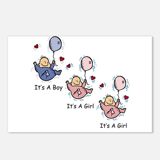 It's a Boy Girl Girl Triplets Postcards (Package o