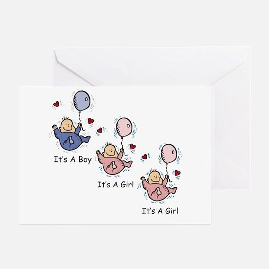 It's a Boy Girl Girl Triplets Greeting Cards (Pk o