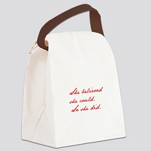 SHE-BELIEVED-SHE-COULD-jan-red Canvas Lunch Bag