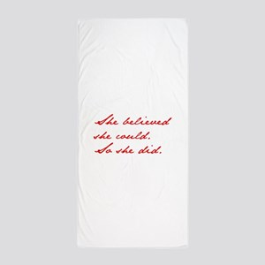SHE-BELIEVED-SHE-COULD-jan-red Beach Towel