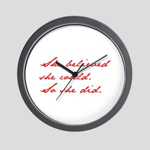 SHE-BELIEVED-SHE-COULD-jan-red Wall Clock