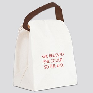 SHE-BELIEVED-SHE-COULD-OPT-RED Canvas Lunch Bag