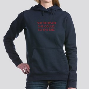 SHE-BELIEVED-SHE-COULD-OPT-RED Women's Hooded Swea