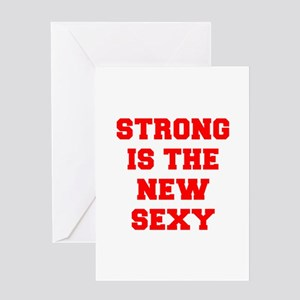 STRONG-IS-THE-NEW-SEXY-FRESH-RED Greeting Cards
