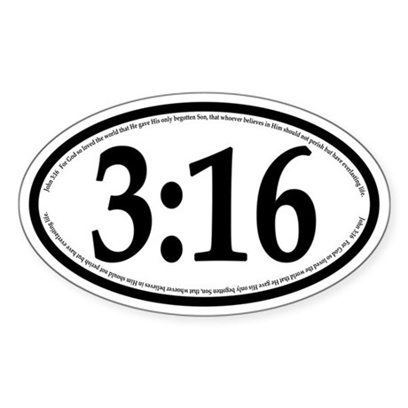 John 3:16 Oval Car Sticker
