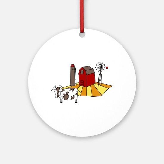 Midwest Farm Cao Cattle Barn Silo Windmill Ornamen